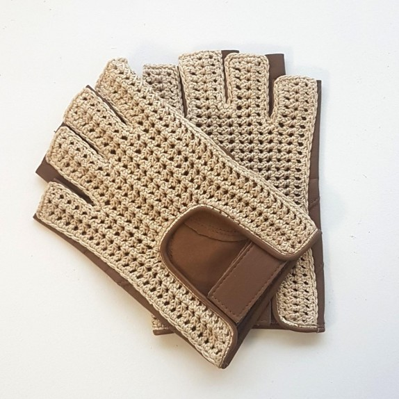 "Leather mittens and cotton hook biscuit and ecru ""PILOTE"""