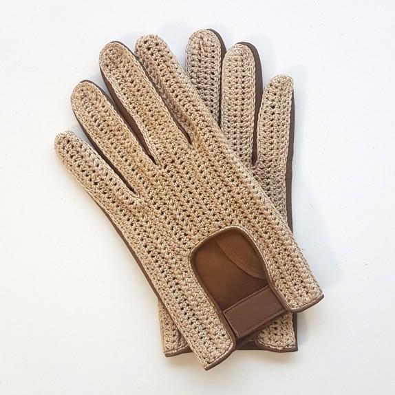 """Gants en cuir d'agneau et crochet coton biscuit et beige """"ABEL""""."""