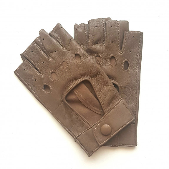 "Leather mittens of lamb cognac ""PILOTE""."