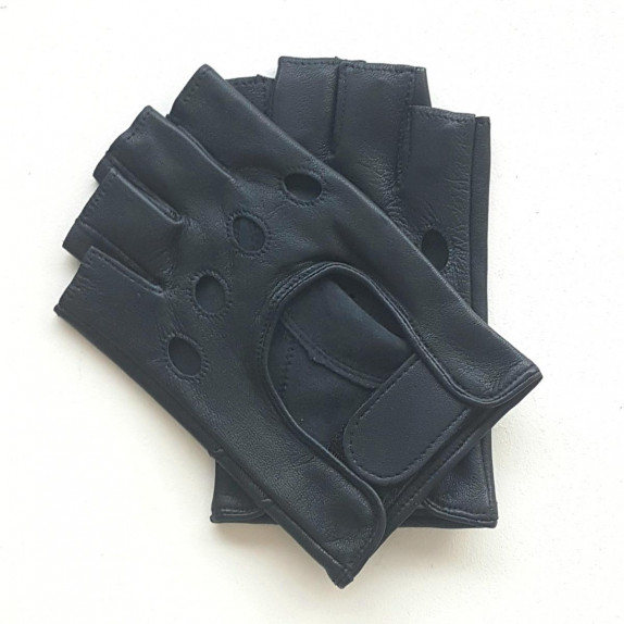"""Leather mittens of lamb navy """"PILOTE"""""""