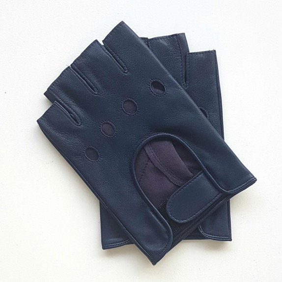 """Leather mittens of lamb blue berry """"PILOTE""""."""