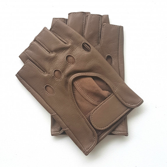 """Leather mittens of lamb clay """"PILOTE""""."""