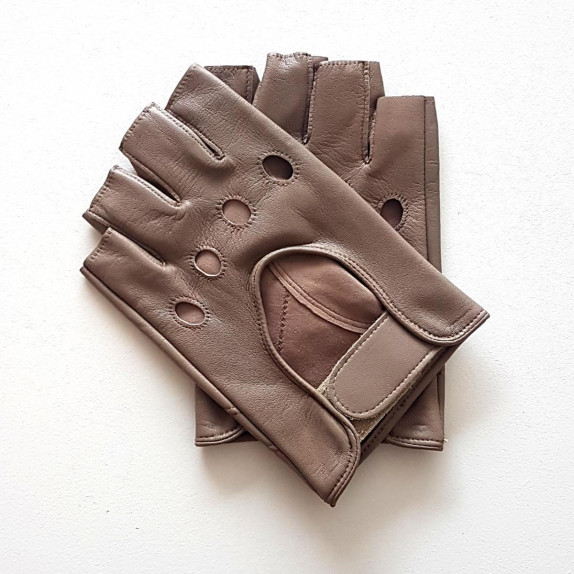 """Leather mittens of lamb putty """"PILOTE""""."""