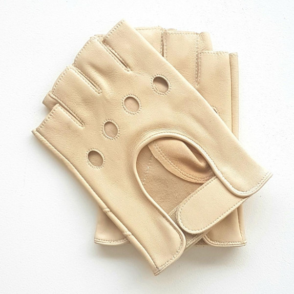 """Leather mittens of lamb parchment """"PILOTE""""."""
