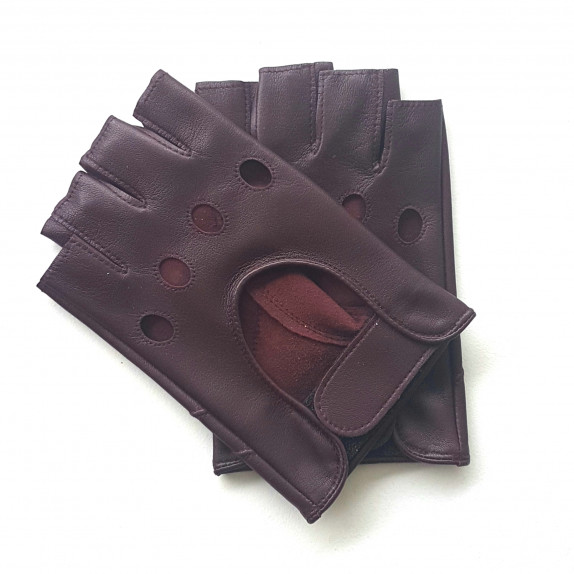 """Leather mittens of lamb burgundy """"PILOTE""""."""