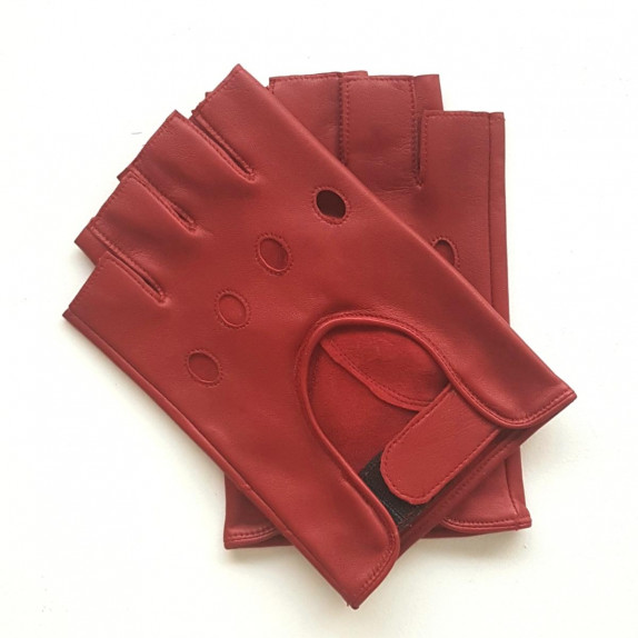 """Leather mittens of lamb red """"PILOTE""""."""