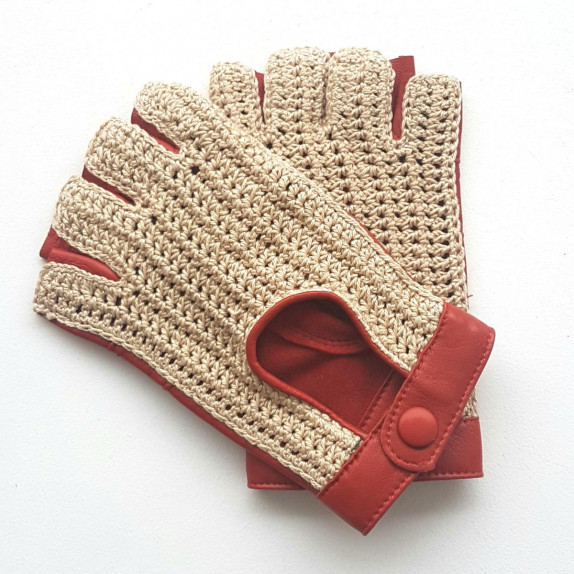 """Leather mittens of lamb and cotton hooks orange and ecru """"MICHELE""""."""