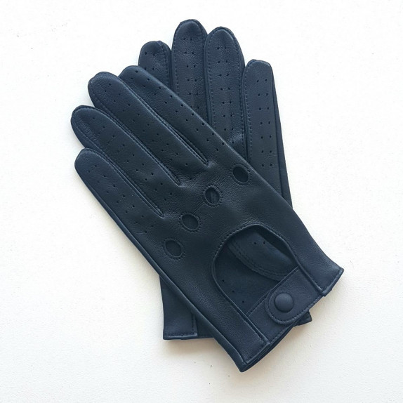 """Leather gloves of lamb navy """"AUDREY""""."""