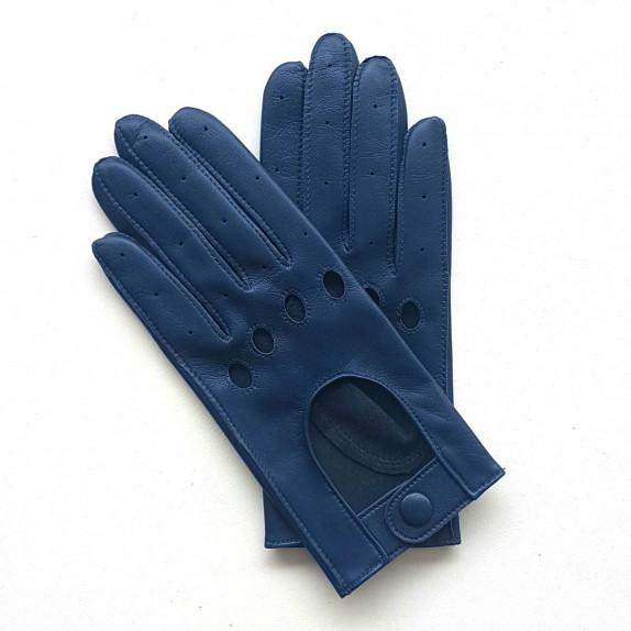"Leather gloves of lamb indigo ""AUDREY""."