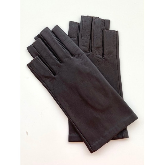 "Leather gloves of lamb and cotton hook havana and beige ""LOUIS"""
