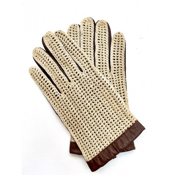 """Leather gloves of lamb and cotton hook havana and beige """"LOUIS"""""""