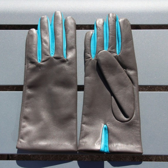 "Leather gloves of lamb grey paon ""COLOMBE"""