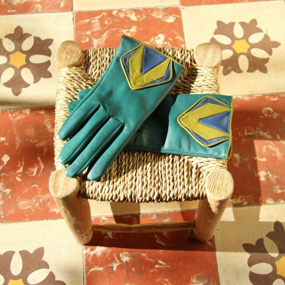 "Leather gloves of lamb green blue and luciole ""ORIGAMI"""