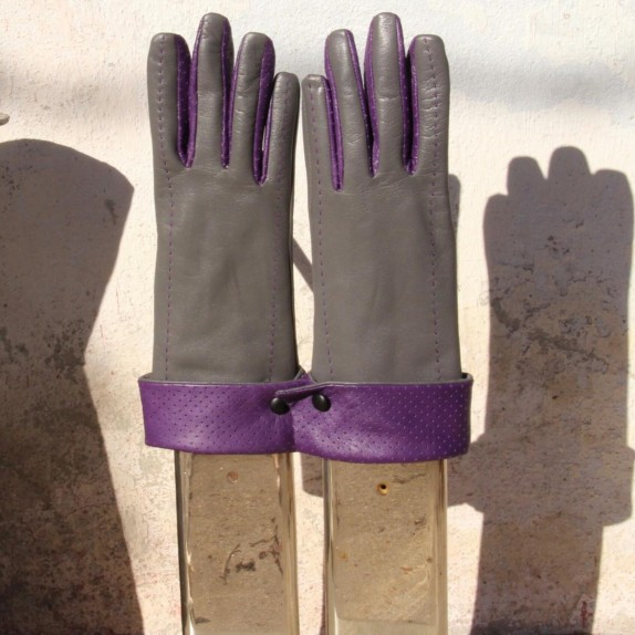 "Leather gloves of lamb charcoal and amethyst ""PLATON"""